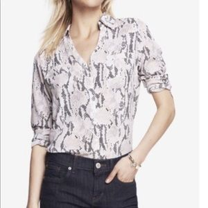 NWT Snakeskin Print Blouse Long Sleeve by Express